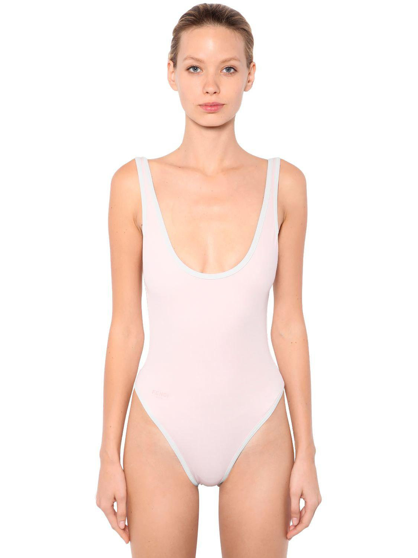 67f964955a62a Lyst - Fendi Reversible Logo Lycra Swimsuit