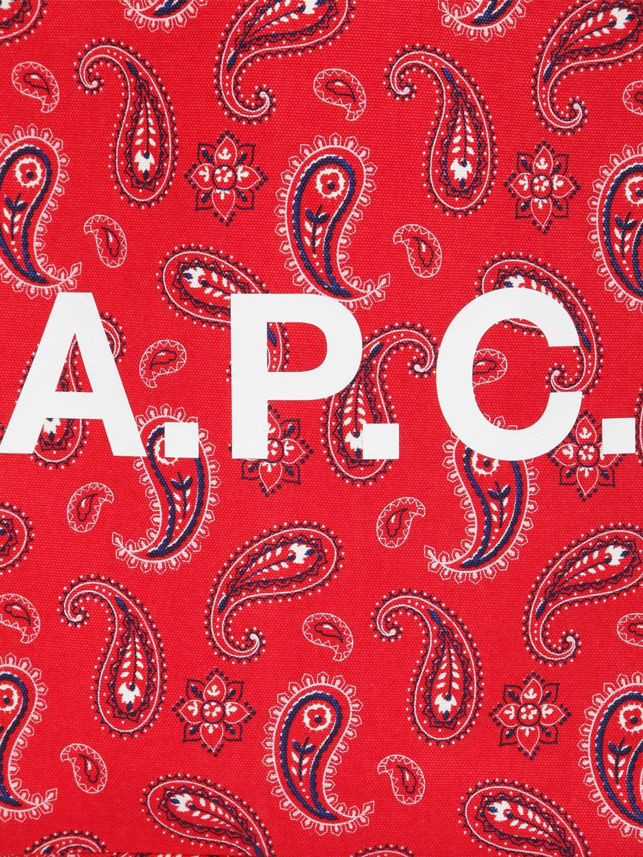 Tote Bag En Coton Imprimé Bandana A.P.C. en coloris Rouge