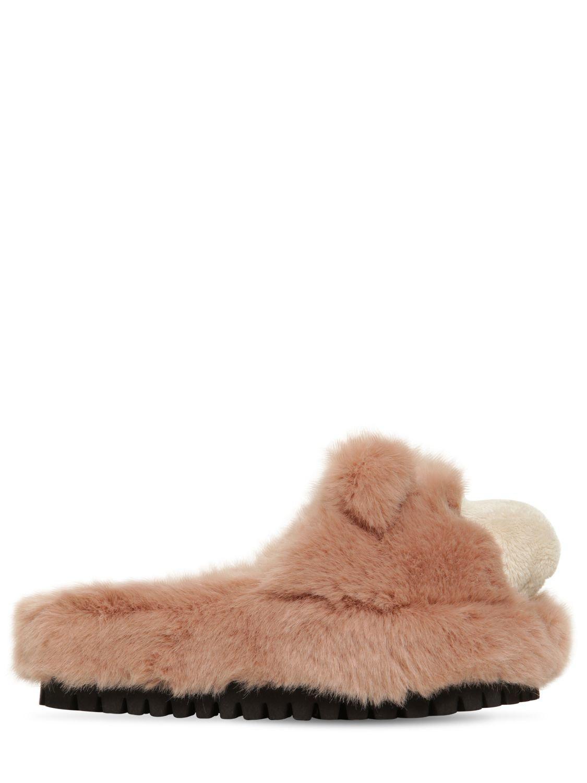 Lyst - Dolce   Gabbana 30mm Faux Fur Bear Slide Sandals ae952f41cbc79