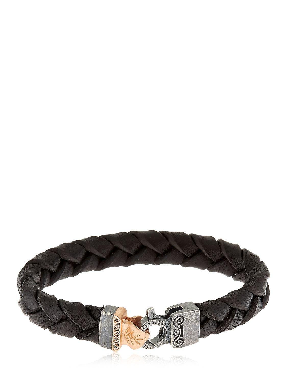 Marco Dal Maso Mens Thin Woven Leather Bracelet, Brown