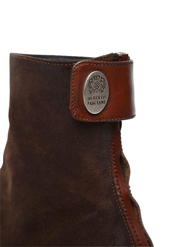 Alberto Fasciani 70mm Suede Ankle Boots in Brown