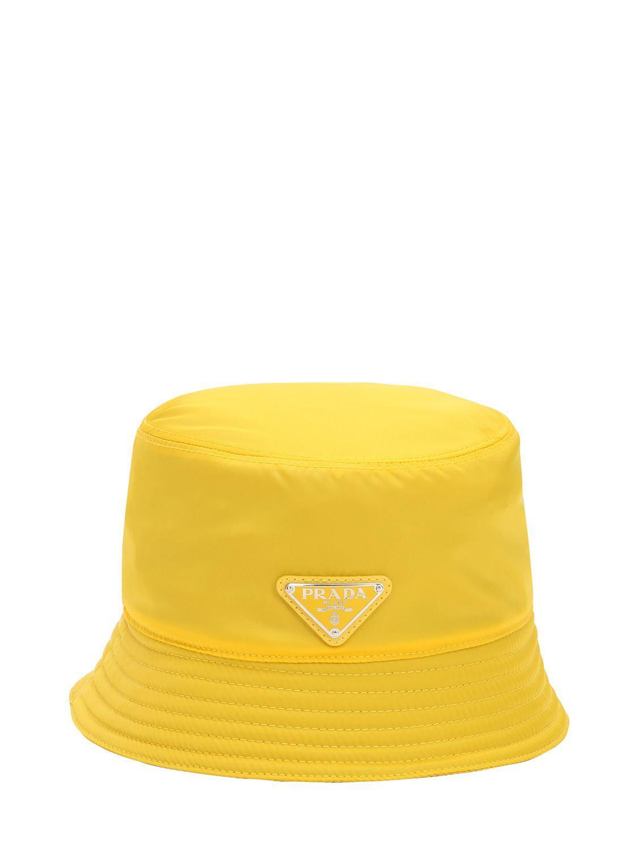 Lyst - Prada Nylon Rain Hat in Yellow b14d11436435
