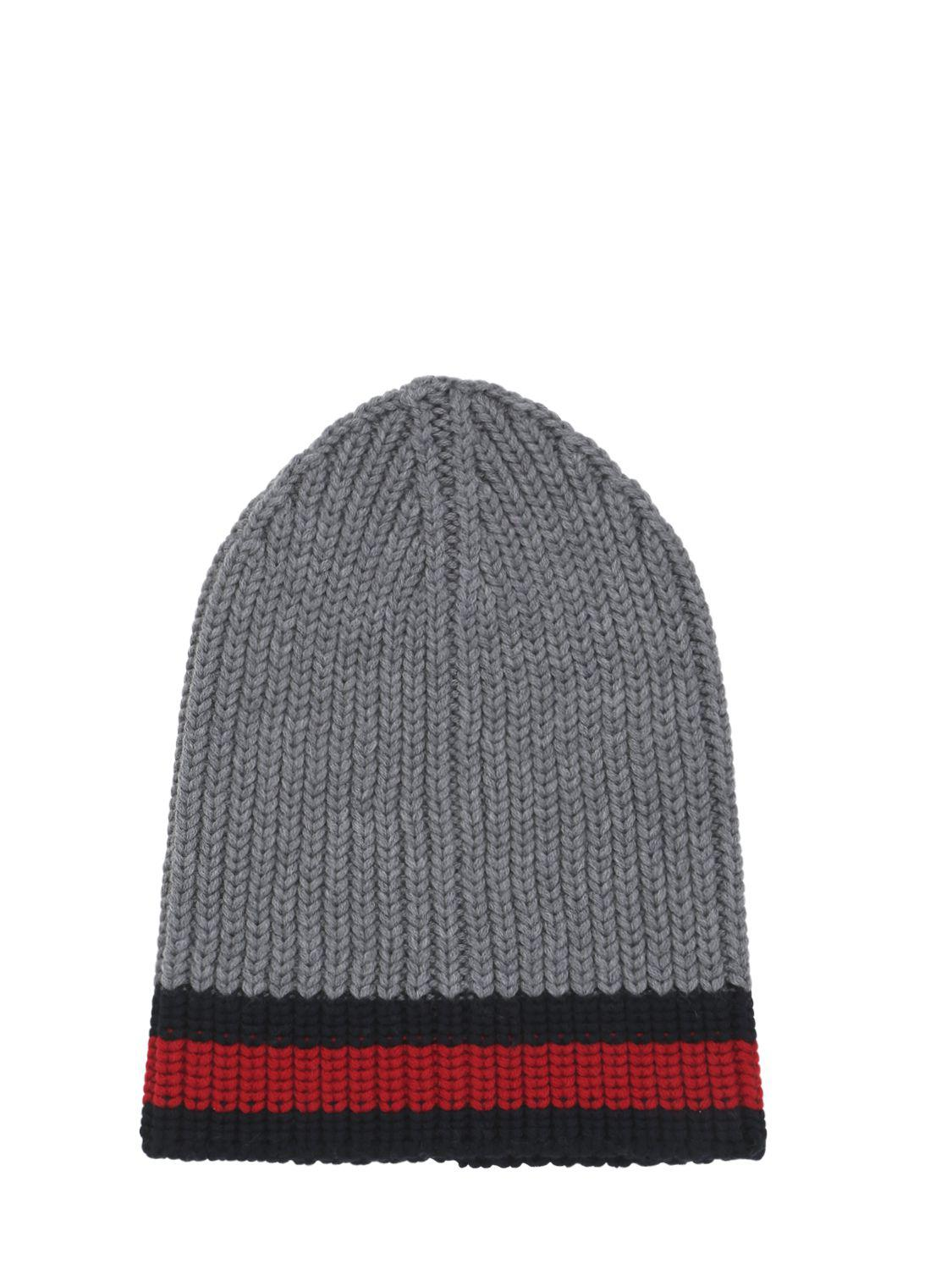 def5726257d Gucci Web Wool Cable Knit Beanie Hat in Gray - Lyst