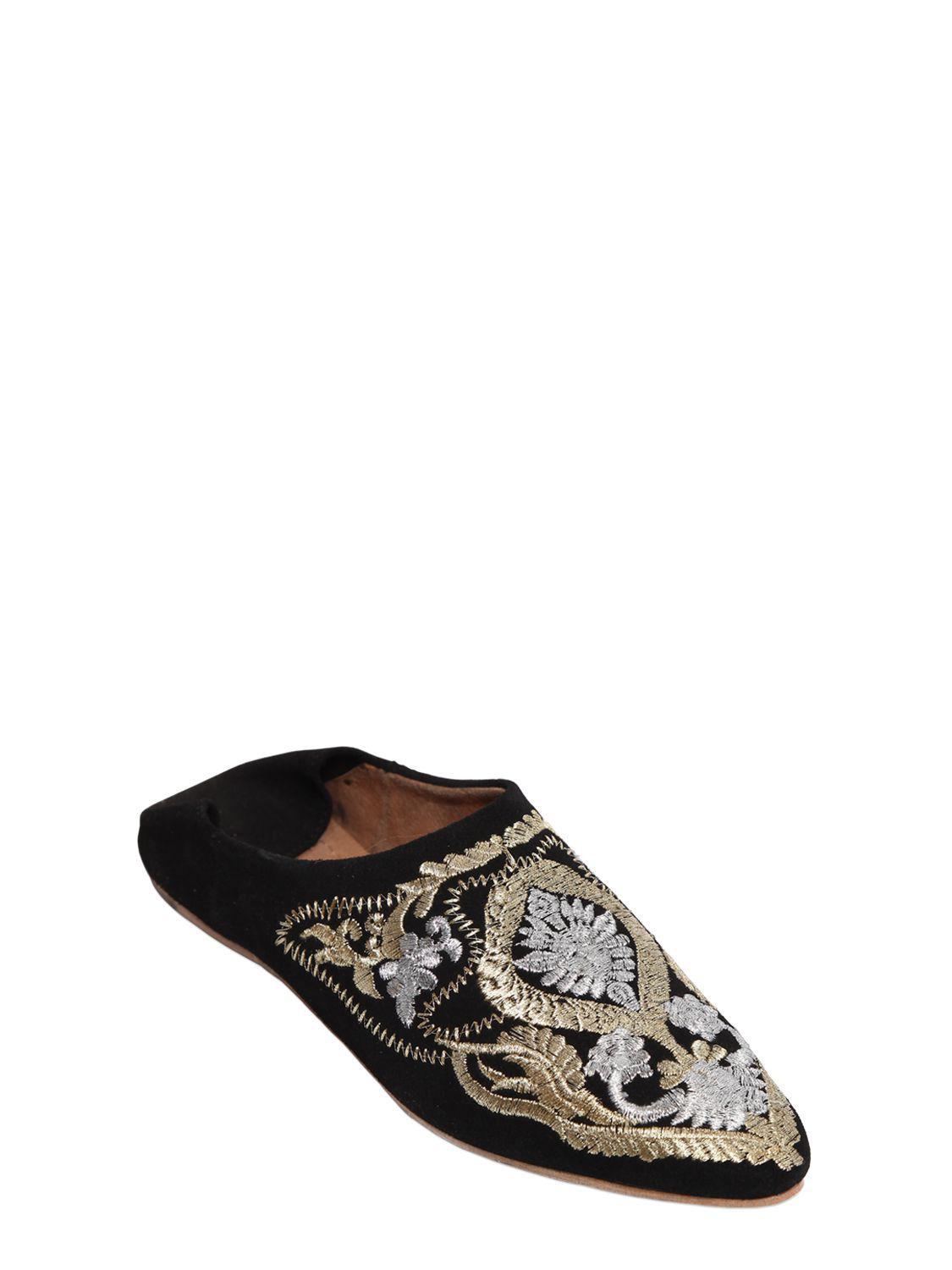 Jeffrey Campbell 10MM EMBROIDERED SUEDE FLATS lOpB4