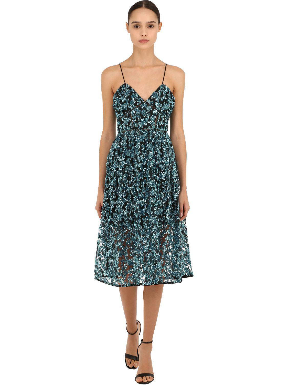 eeb520ac9866 Self-Portrait Azaelea Sequinned Midi Dress in Blue - Lyst