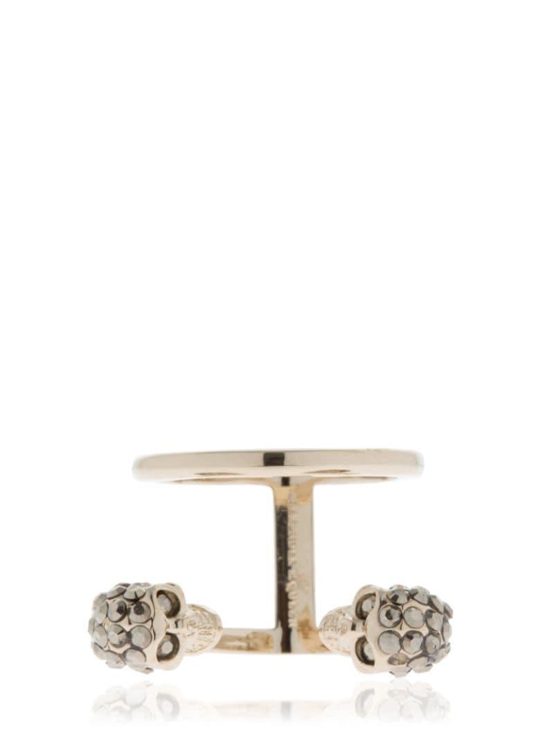 Alexander McQueen Gold Double Skulls Stacked Ring in Metallic