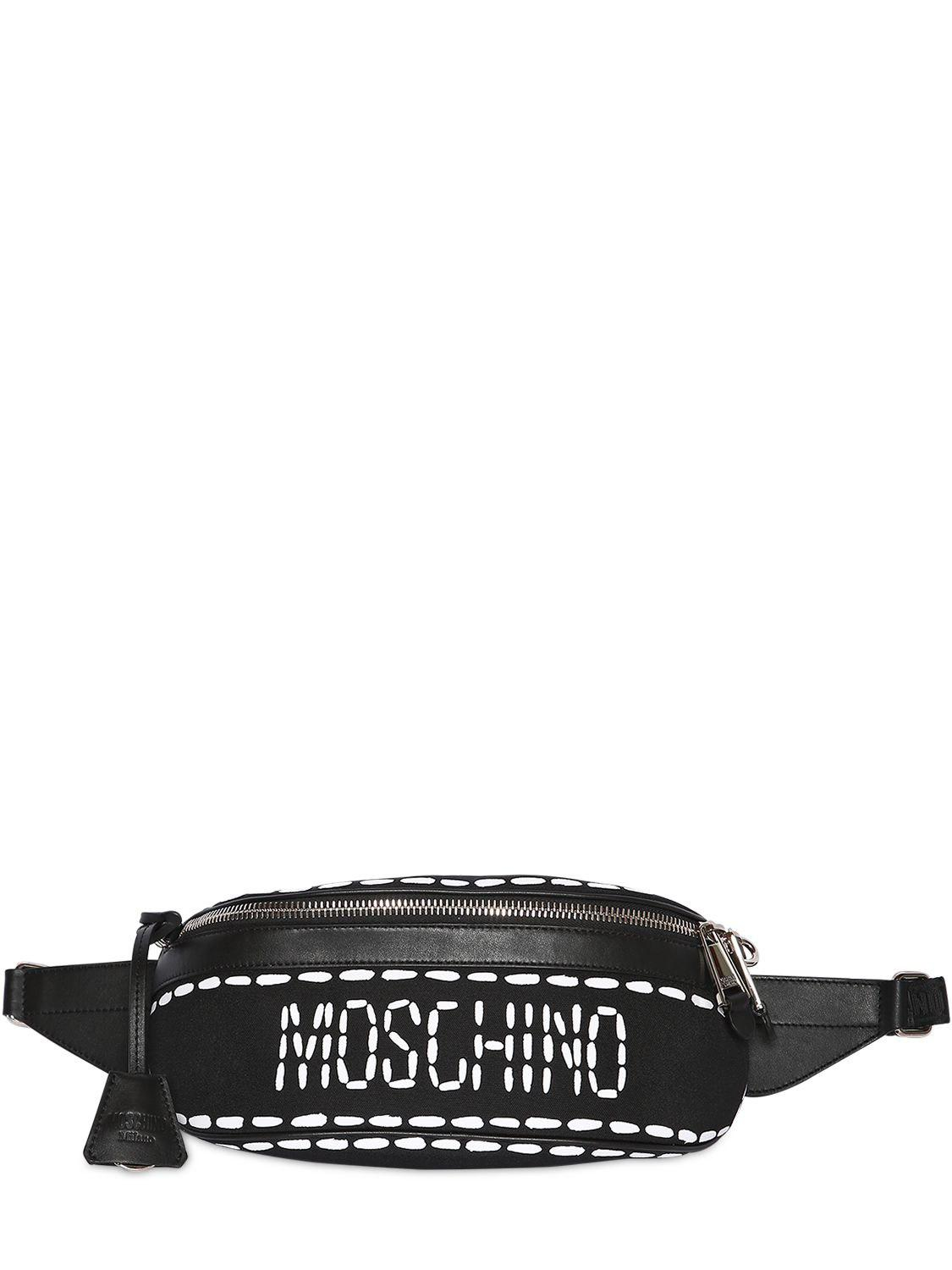 ce92a1d7b8 Moschino Stitched Logo Nylon Belt Bag in Black for Men - Lyst