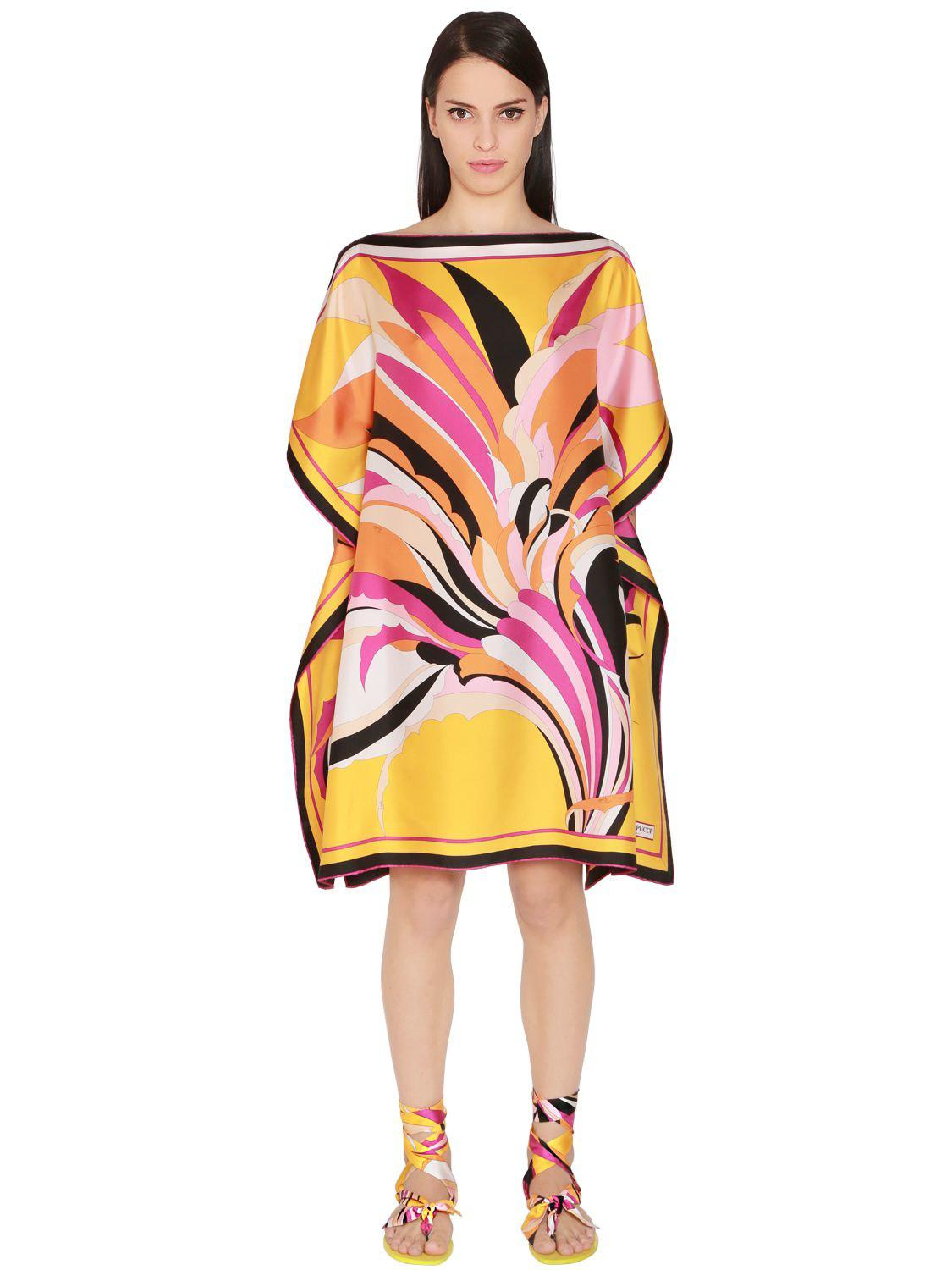 bf81d1f665b46 Lyst - Emilio Pucci Printed Silk Twill Caftan Dress