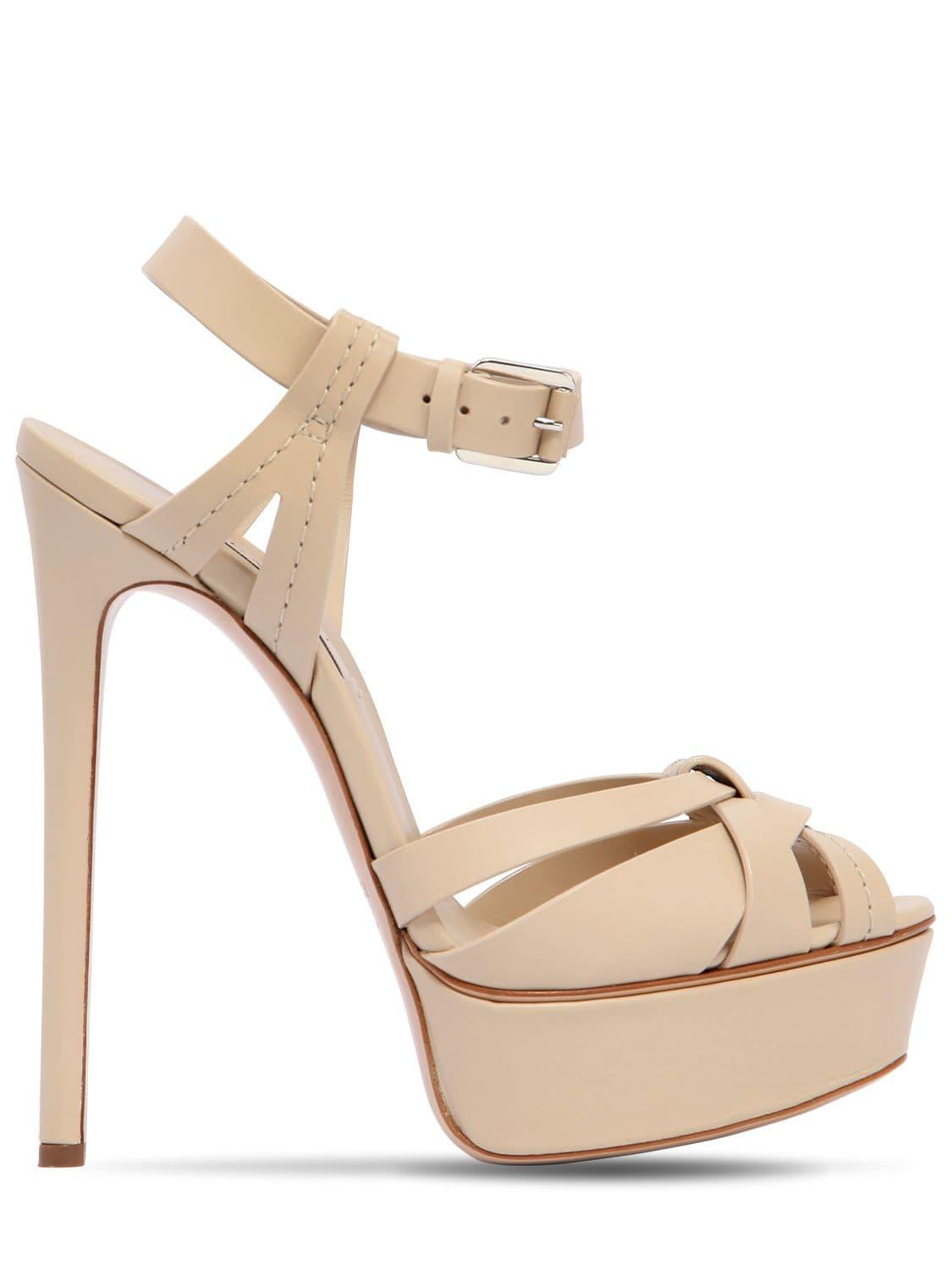 78a331fa0c Casadei 140mm Leather Sandals in Natural - Lyst