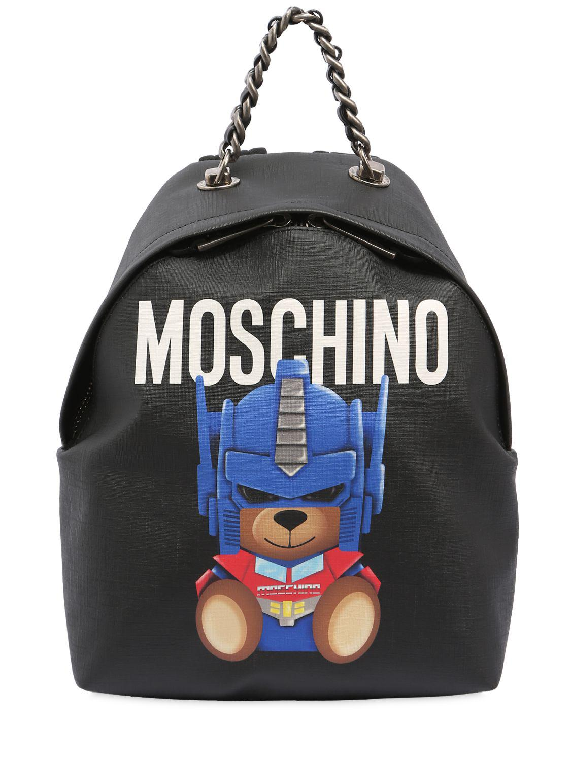 Backpack Transformer Black: Moschino Small Teddy Transformer Backpack In Black