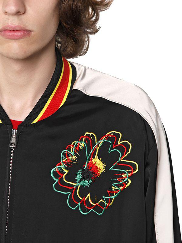 Stella McCartney Embroidered Techno Satin Bomber Jacket in Black for Men