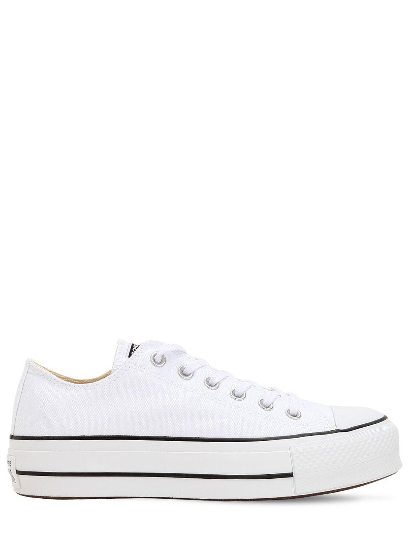 Zapatillas con plataforma en blanco Chuck Taylor Ox Converse de Lona de color Blanco: ahorra un 18 %