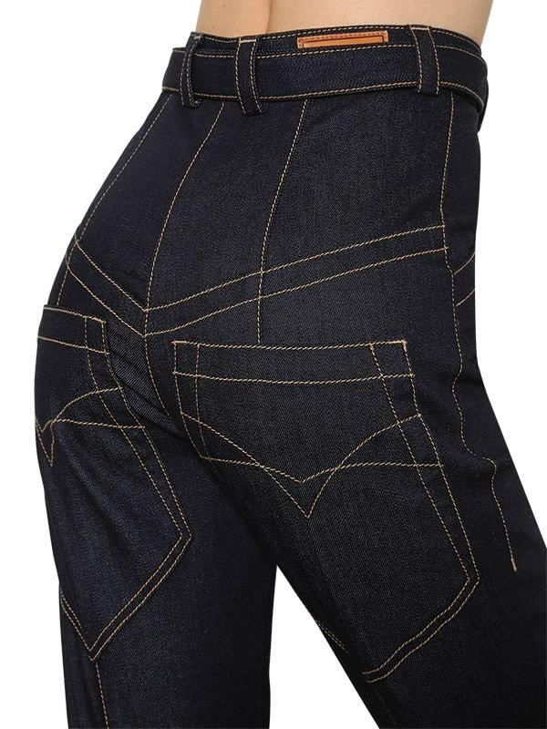Nina Ricci High Waisted Flared Denim Jeans in Blue