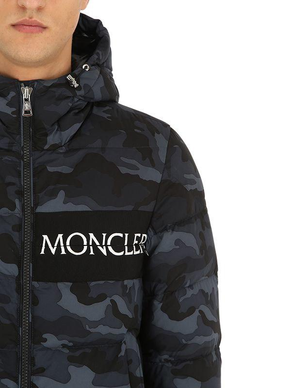 1289e842df41b Moncler - Black Aiton Camo Nylon Down Jacket for Men - Lyst. View fullscreen