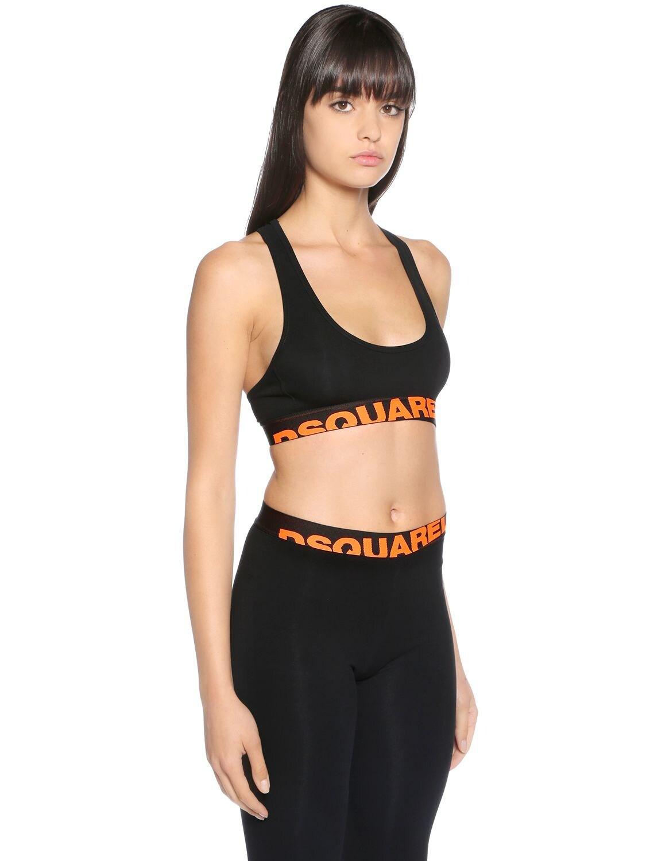 DSquared² Logo Print Jersey Sports Bra Top in Black,Orange (Black)