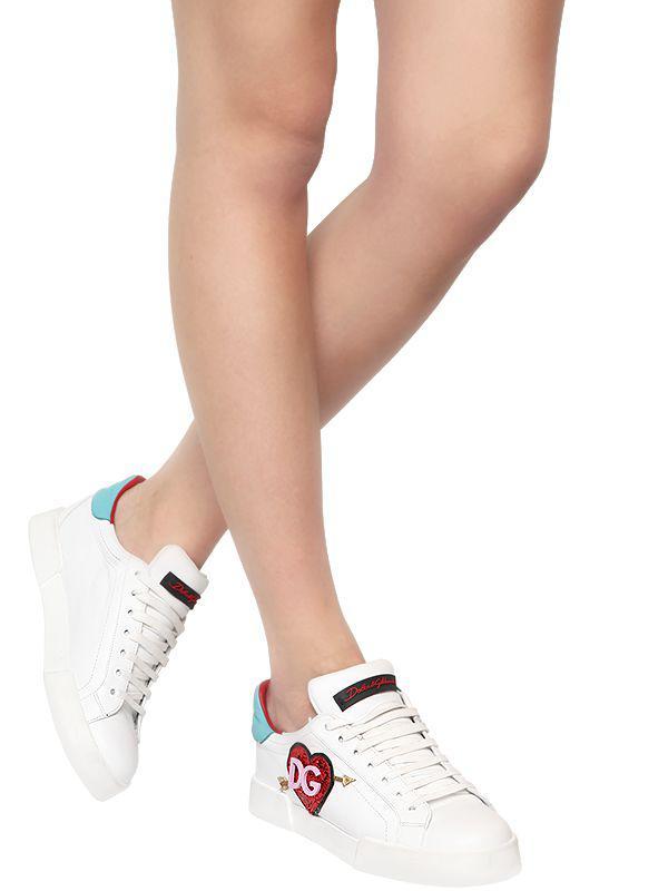 Dolce & Gabbana 20mm Portofino Light Leather Sneakers in White