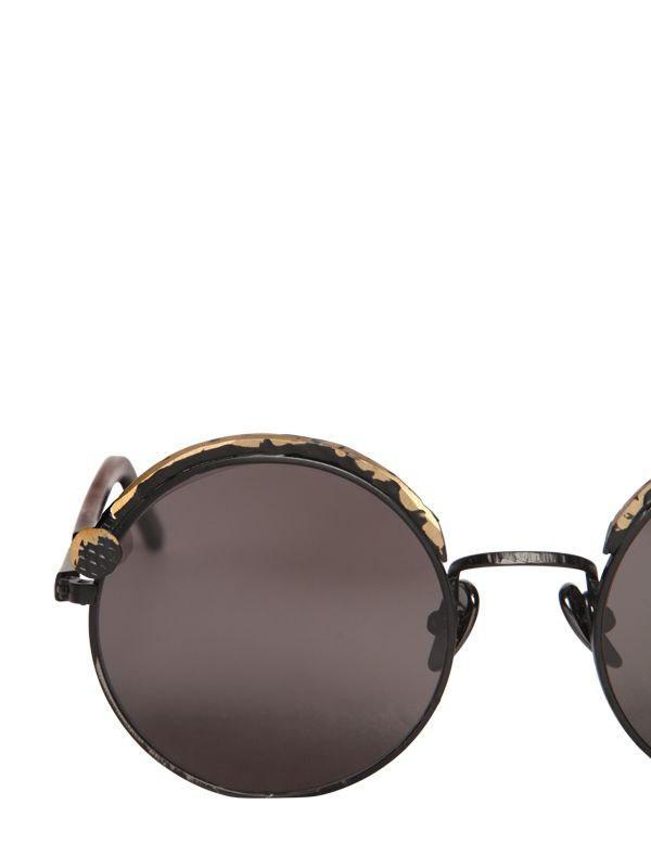 Kuboraum Nail Round Metallic Sunglasses in Black/Metal (Black)