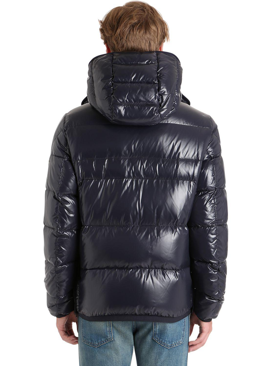 Moncler Synthetic Harry Shiny Nylon Down Jacket In Blue For Men Lyst