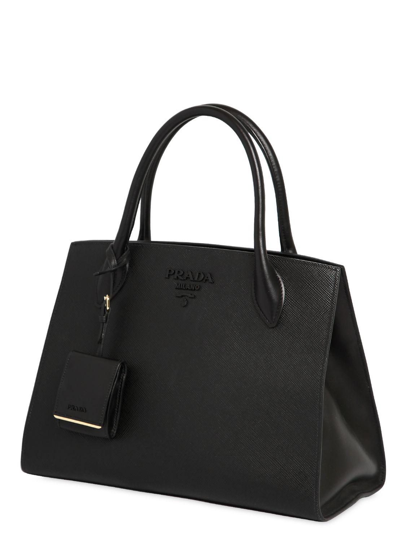 eb70e32992f91d ... spain prada black large monochrome saffiano leather bag lyst. view  fullscreen a1c62 f3ad4