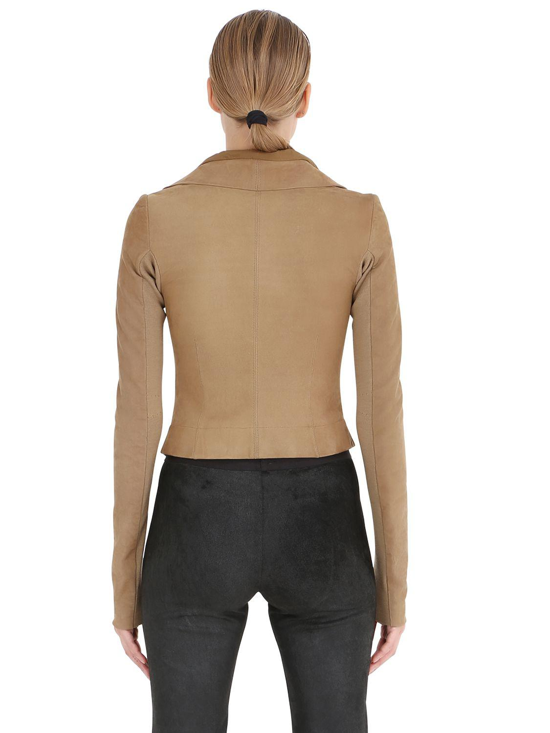Rick Owens Classic Suede Moto Jacket In Brown Lyst