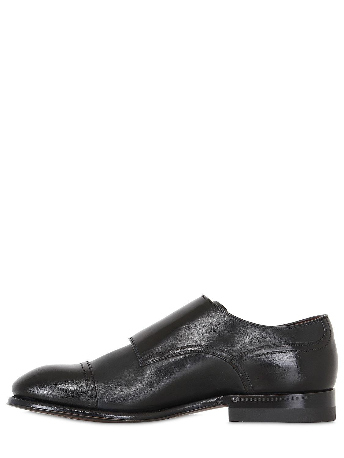Silvano Sassetti Brushed Leather Monk Strap Shoes in Midnight/Black (Blue) for Men