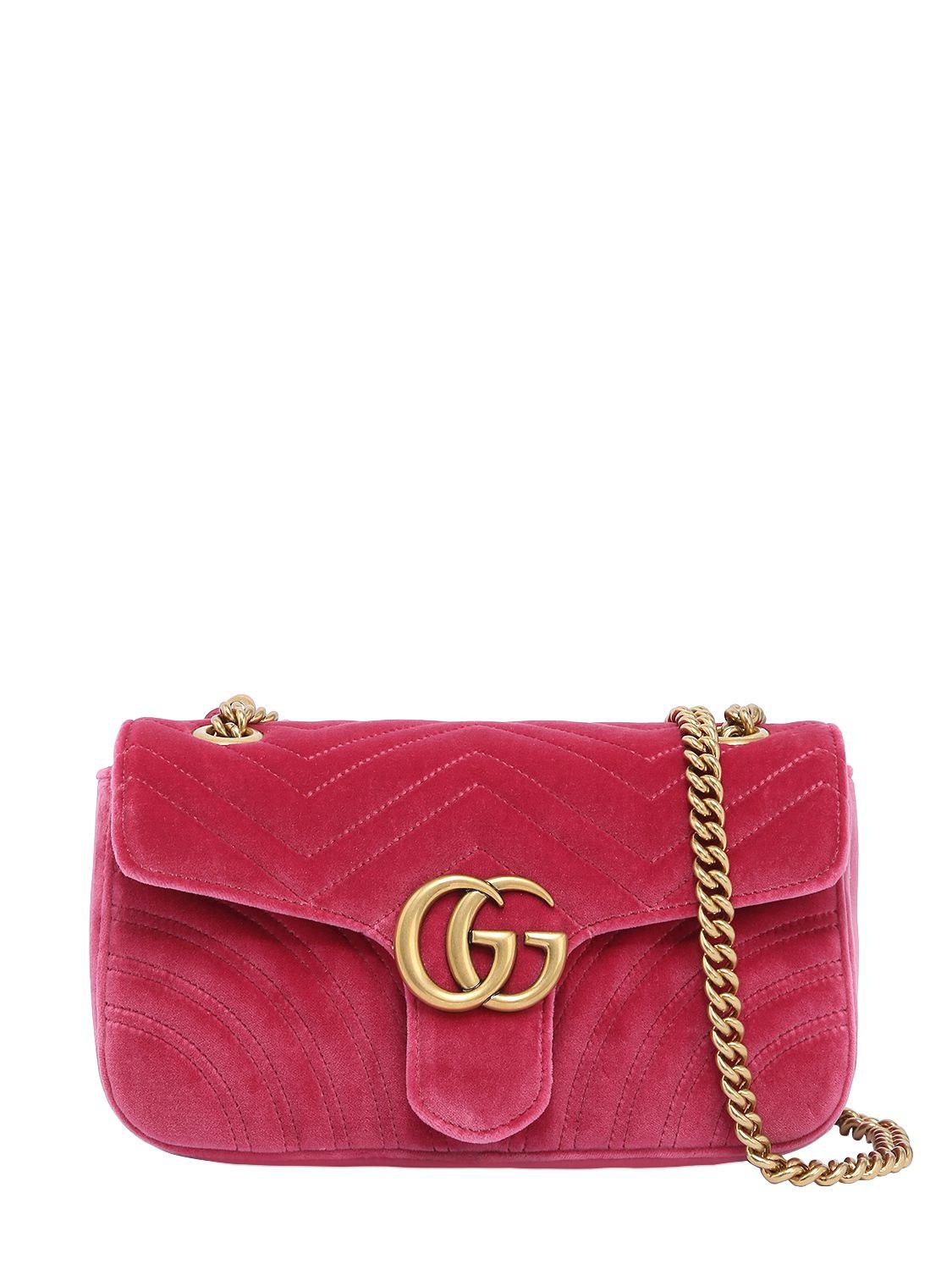 e31657600ba6 Gucci Small Gg Marmont 2.0 Velvet Shoulder Bag in Pink - Save 21% - Lyst