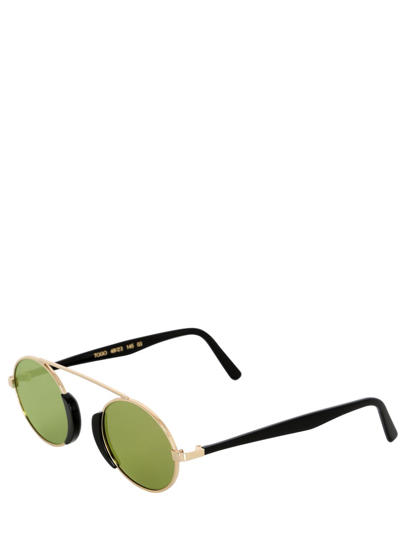 Lgr Togo Metal Round Mirrored Sunglasses in Gold (Metallic)