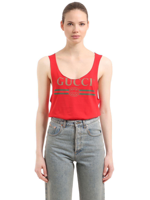0543d25cd44d Lyst - Débardeur En Jersey De Coton Imprimé Logo Gucci en coloris Rouge