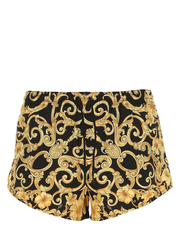 44e897b40d6b3 Lyst - Versace Baroque Printed Swim Shorts in Metallic for Men