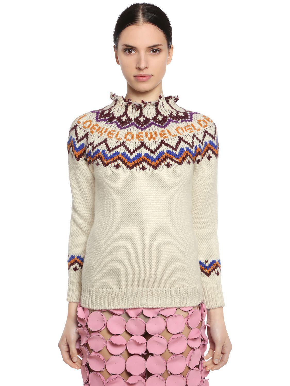 301855971ea9db Loewe Wool & Alpaca Intarsia Knit Sweater in White - Lyst