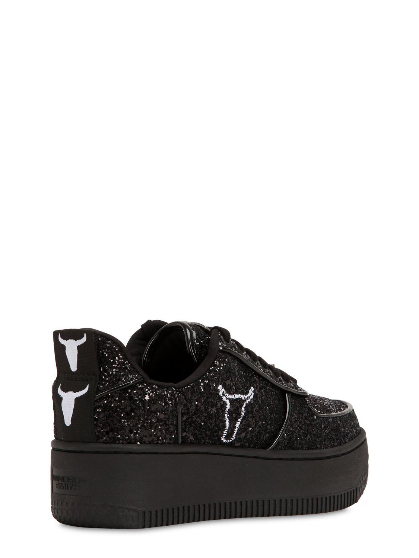 Windsor Smith Rubber 50mm Rosine Glittered Sneakers in Black