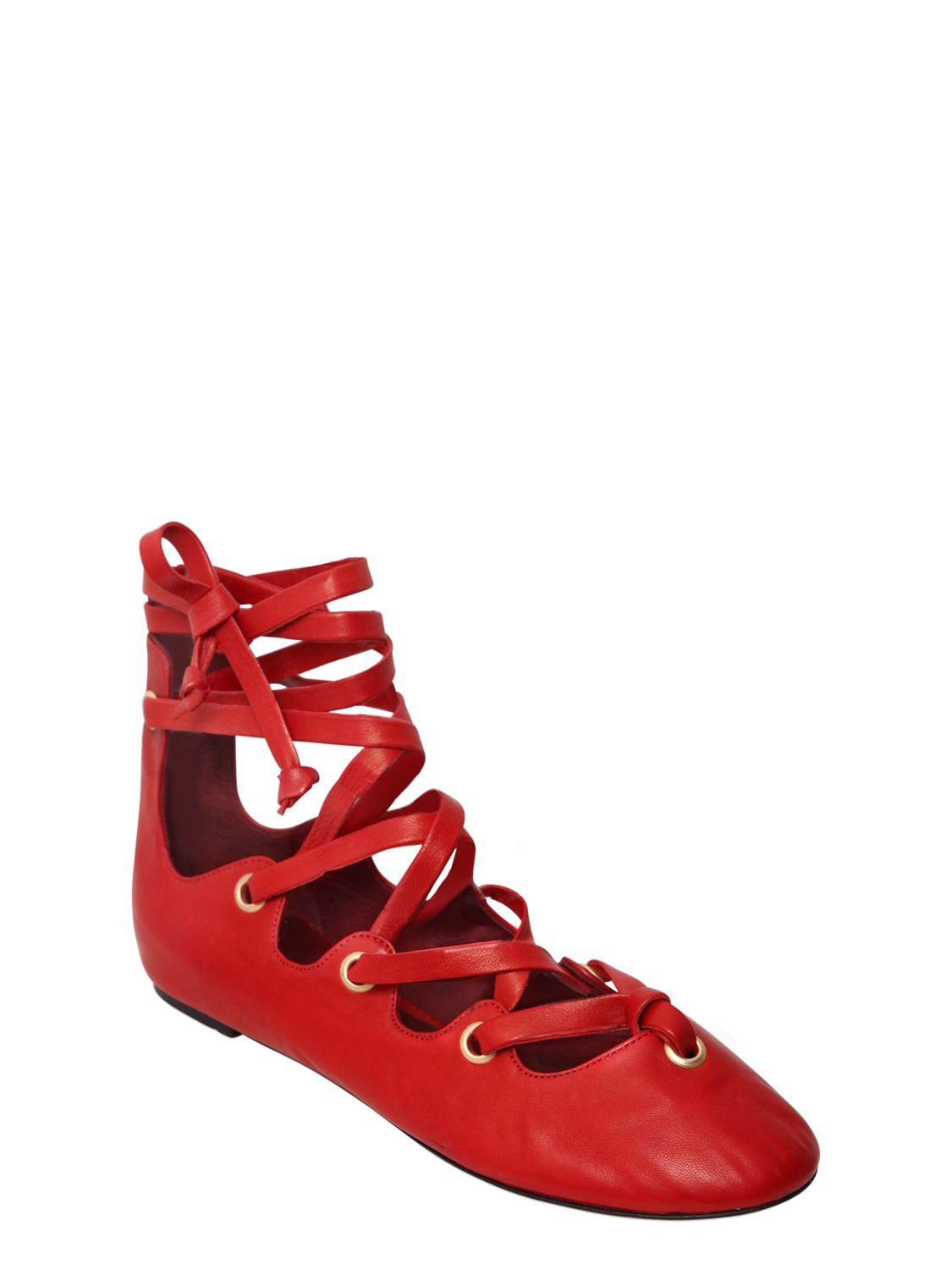 Affordable Online Discount Popular Isabel Marant 10MM LEOMIA LACE UP LEATHER FLATS suEsxS0K