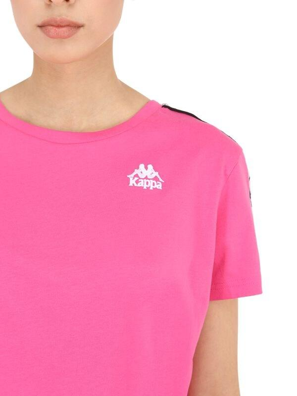 Camiseta Cropped De Algodón Jersey Con Banda Kappa de Algodón de color Rosa