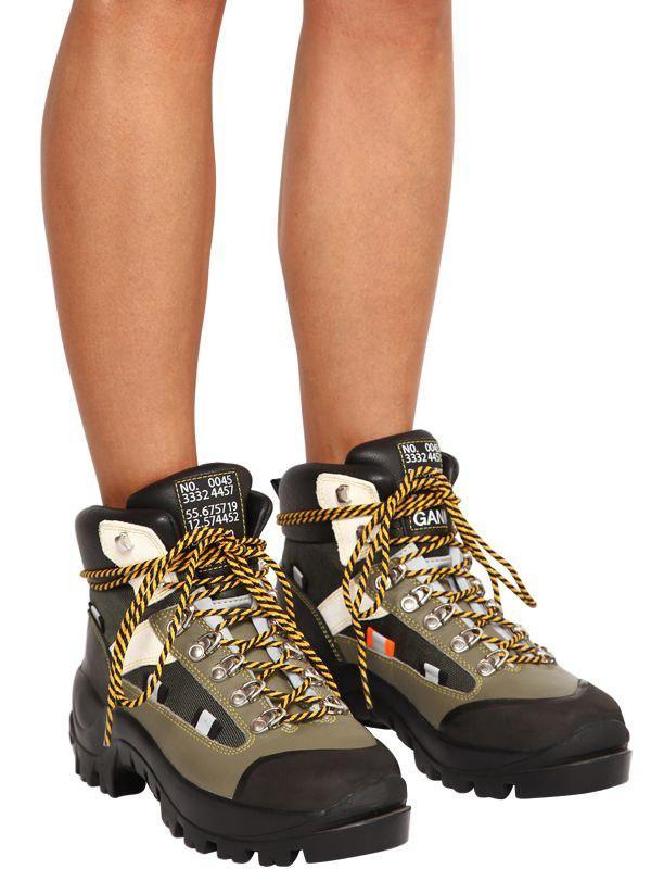 4066fbff6172 Lyst - Ganni 40mm Bruna Leather Hiking Boots