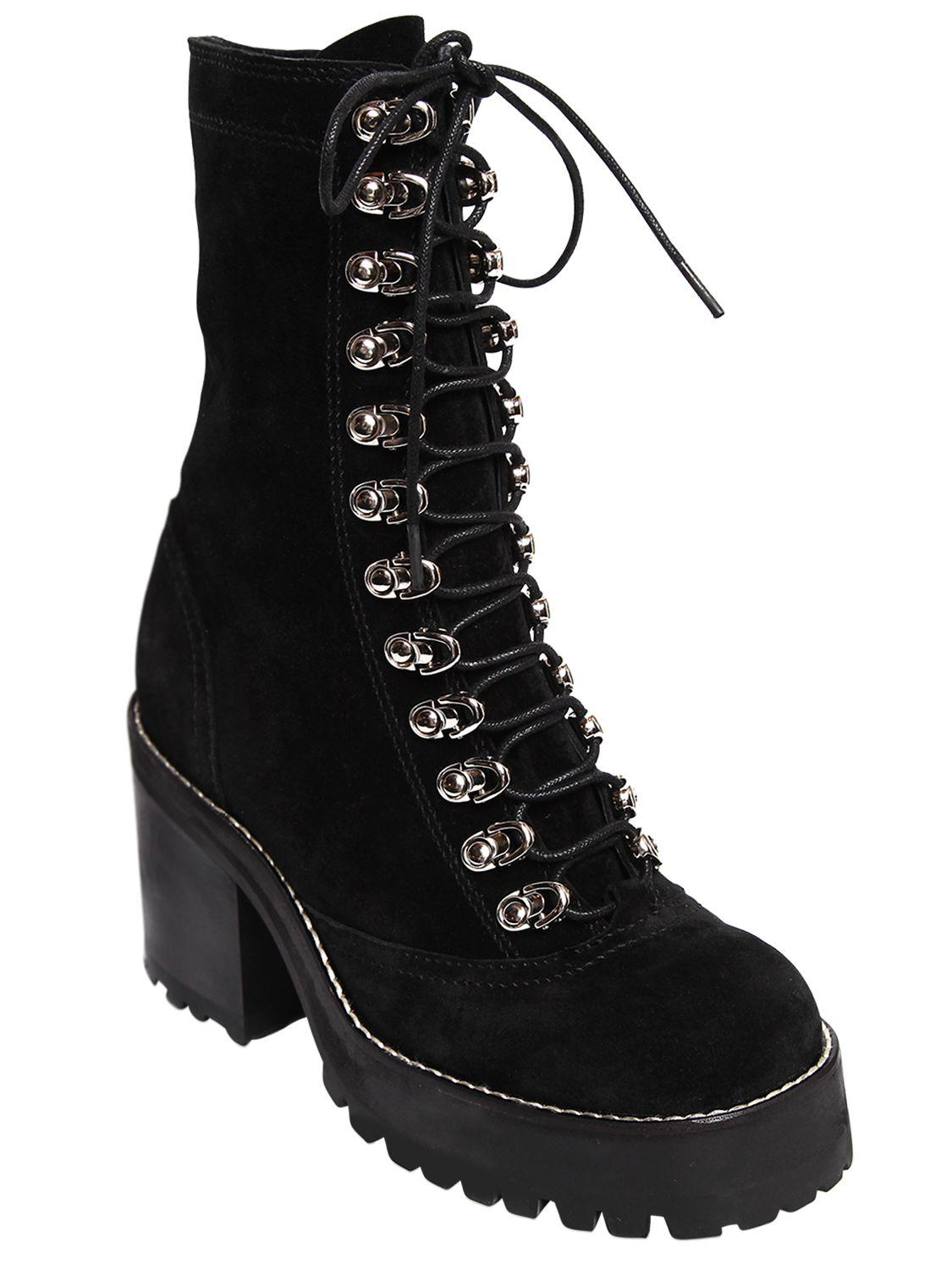 Jeffrey Campbell 70mm Sequoia Lace Up Suede Boots In Black