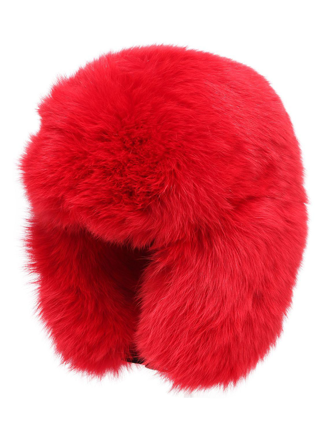Moncler Grenoble Fox Fur Hat in Red - Lyst 921b0143ea0
