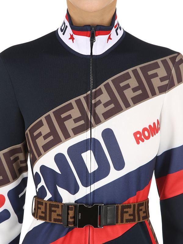 9f5549f8e68 Lyst - Fendi Mania Logo Piqué Jersey Jumpsuit