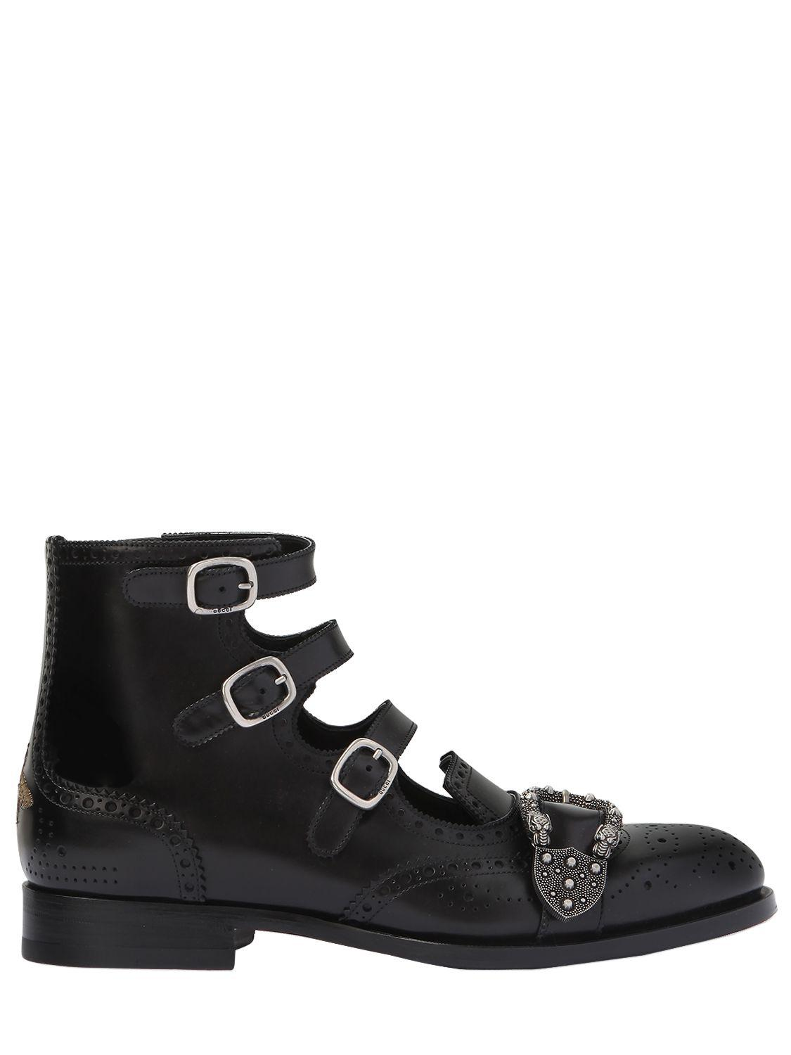 fb8ff97da74347 Lyst - Gucci Queercore Leather Gladiator Boots in Black for Men