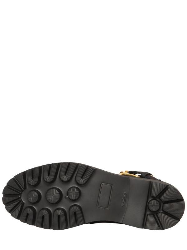 Botas De Montaña De Piel 40Mm Moschino de Cuero de color Negro