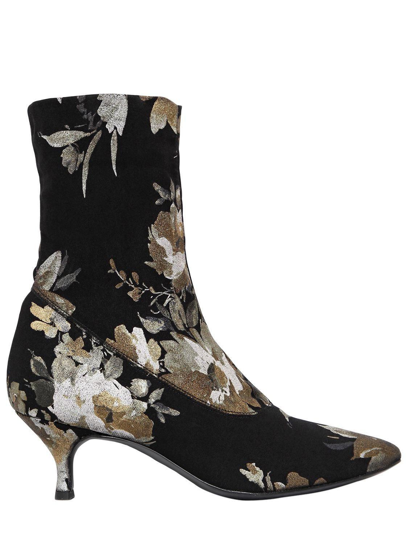 39c5fdf1ea9f1e Strategia 60mm Floral Print Stretch Sock Boots in Black - Lyst
