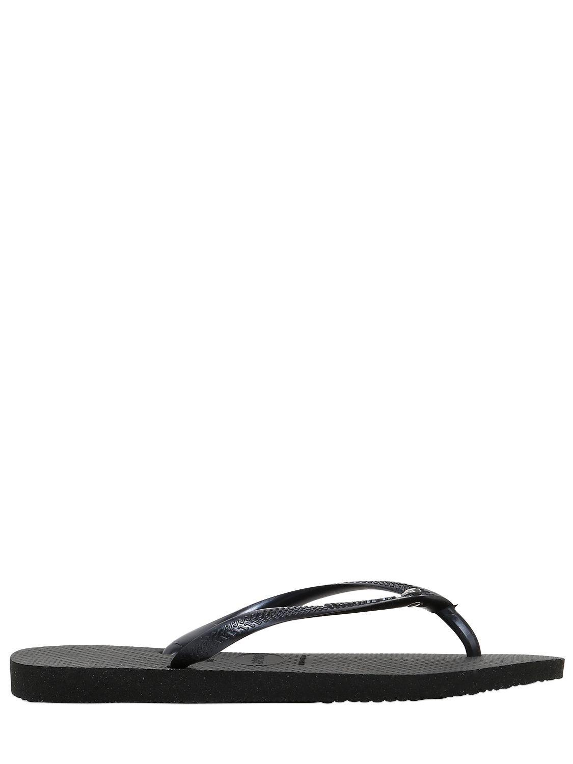 0410d36ec380 Havaianas Slim Swarovski Crystal Rubber Flip Flops in Black - Save ...