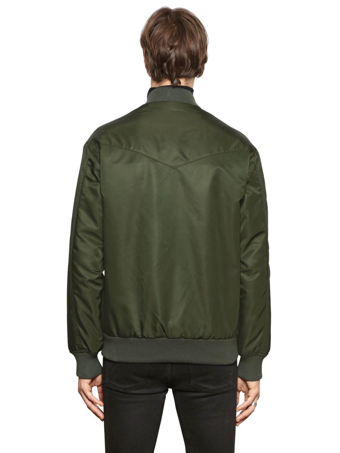 Mr & Mrs Italy Synthetic Nylon Bomber Jacket W/ Fur Lining in Green for Men