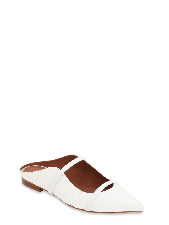 """Zapatos Mules """"Maureen"""" Con Piel De Serpiente 10Mm Malone Souliers de Cuero de color Blanco"""