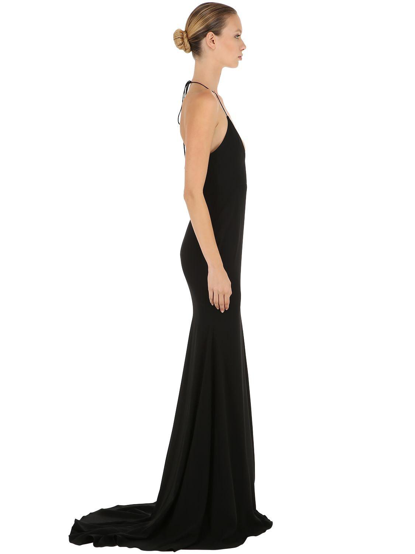 e9991037d2e Alex Perry - Black Satin Crepe Deep V Long Halter Dress - Lyst. View  fullscreen