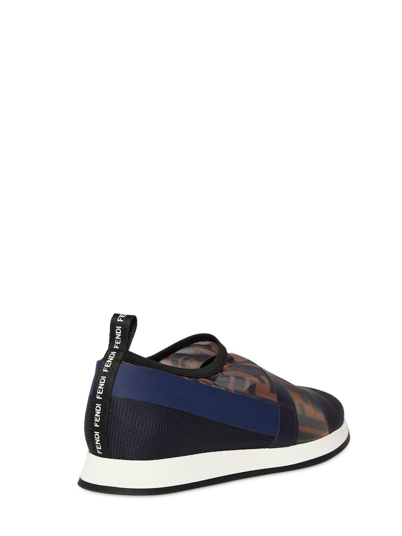 49492c168ae9 Fendi - Blue Zucca Mesh Slip-on Sneakers - Lyst. View fullscreen
