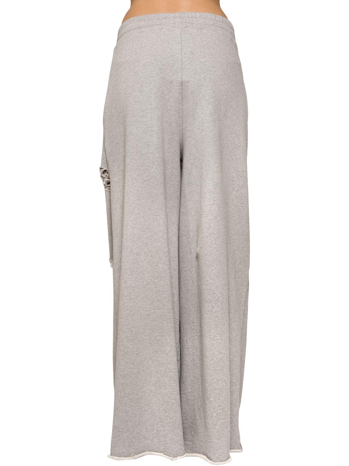 Alexander Wang Destroyed Wide Leg Cotton Sweatpants in Gray - Lyst 40f09732e444d