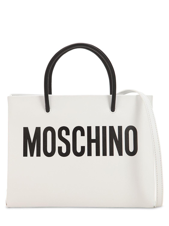 78ae708449c90 Moschino - Black Logo Printed Leather Shoulder Bag - Lyst. View fullscreen
