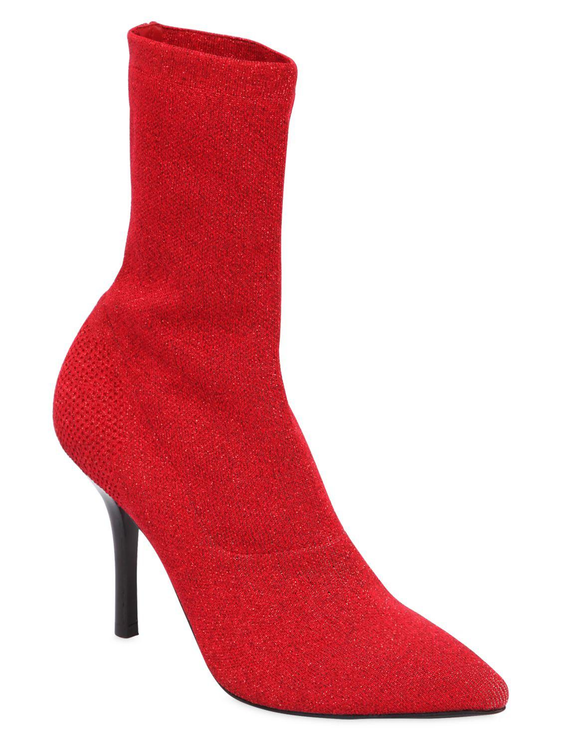 Strategia Leather 90mm Lurex Sock Boots in Red