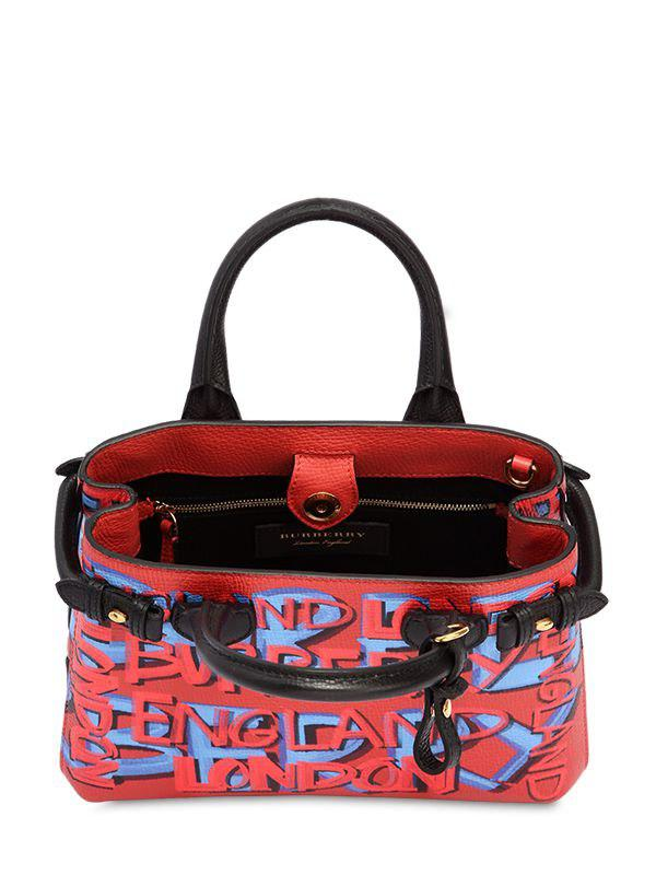 fb6835afdbb0 Lyst - Burberry Small Banner Graffiti Print Leather Bag in Pink