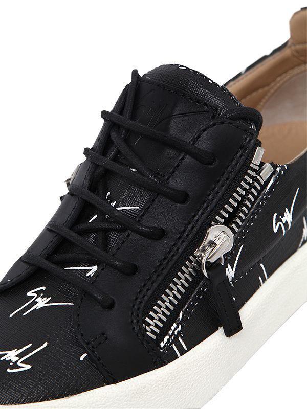Giuseppe Zanotti 20mm Logo Zip-up Faux Leather Sneakers in Black/White (Black)